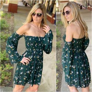 Infinity Raine Dresses - Hunter green floral off shoulder dress